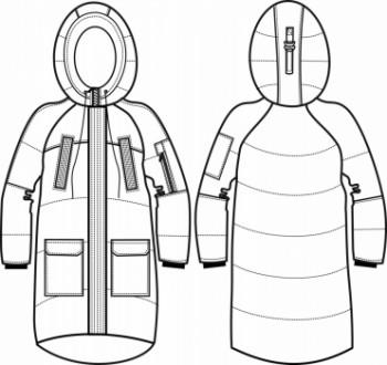 Технический рисунок - Куртка удлиненная ПЗ-1001