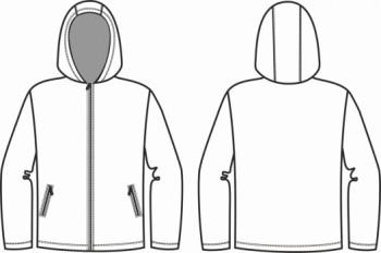Технический рисунок - Куртка из виндблока КМФ с капюшоном