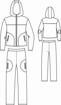 Технический рисунок - Костюм мужской комбинированный (флис+оксфорд)